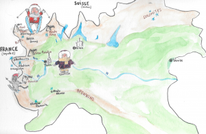 carte du piémont avec les activités à faire en hiver