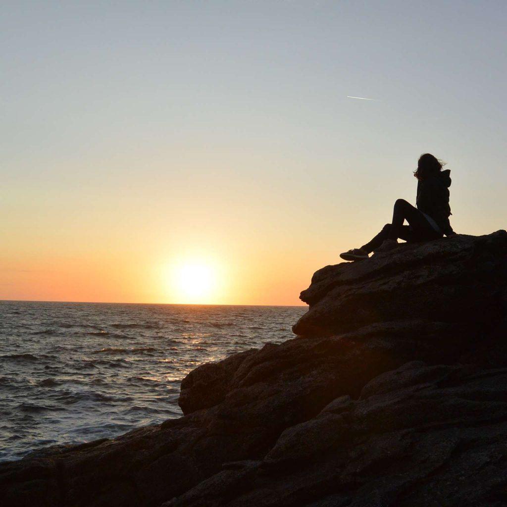 Quiberon : coucher de soleil à la mer