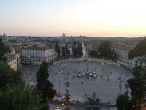 Coucher de soleil sur Piazza del Popolo