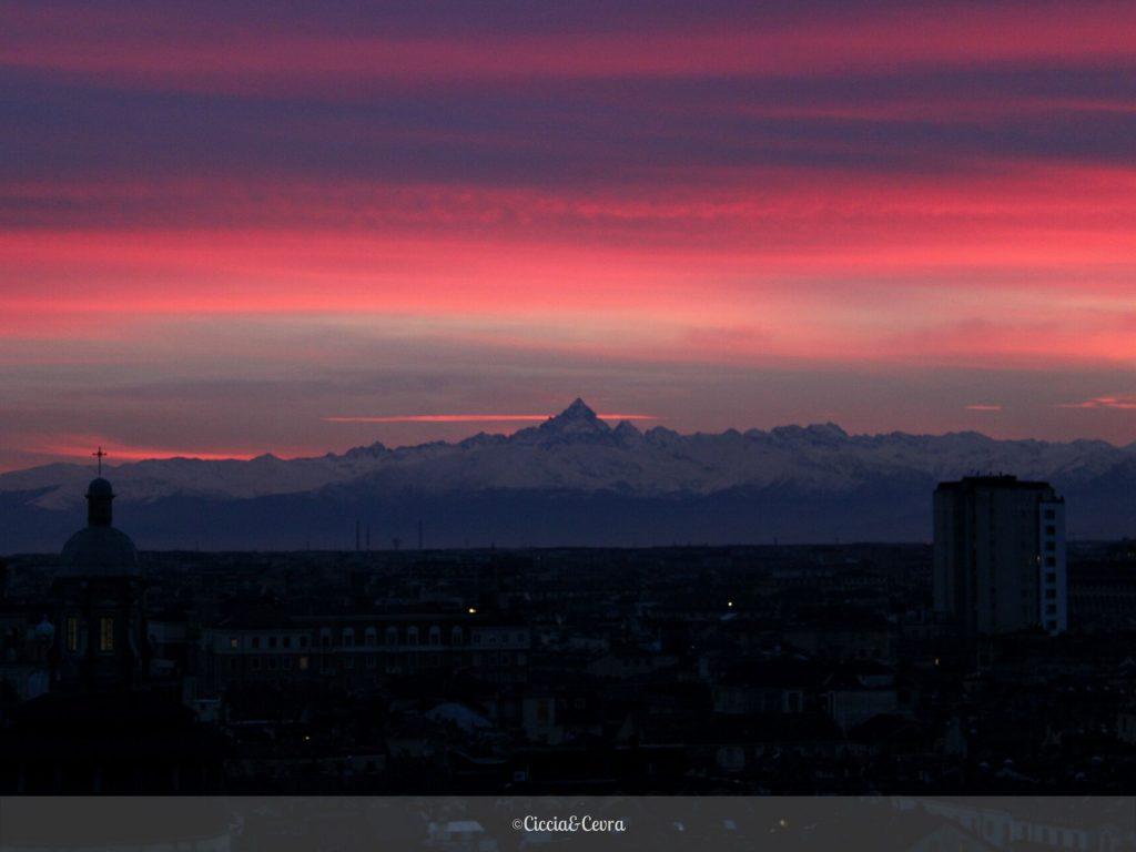 vue sur le mont viso depuis Turin